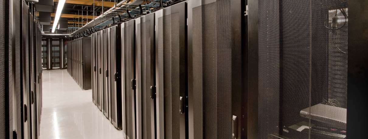 Long aisle of servers in a data center