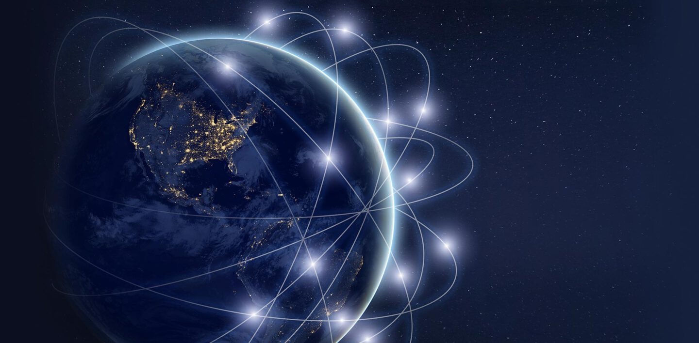 Network of lines and glowing dots around globe in space