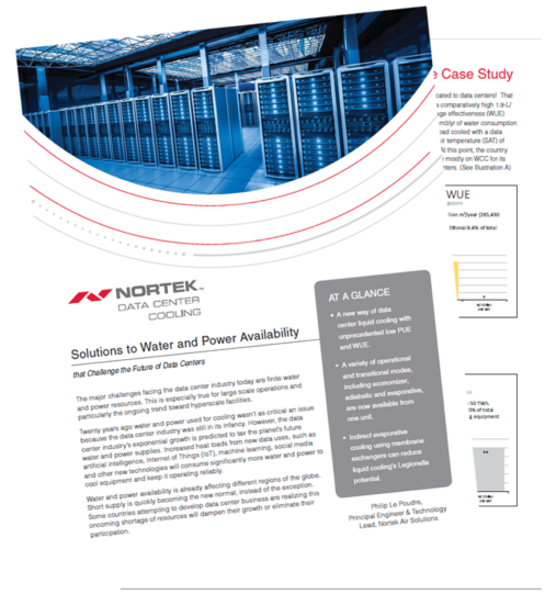 """Preview of Nortek Data Center Cooling """"Solutions to Water and Power Availability"""" white paper"""