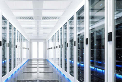 Row of servers in clean modern data center